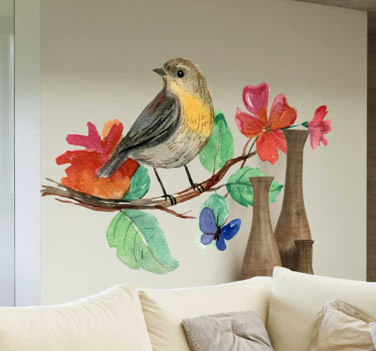 Vinilo decorativo pájaro rama acuarela