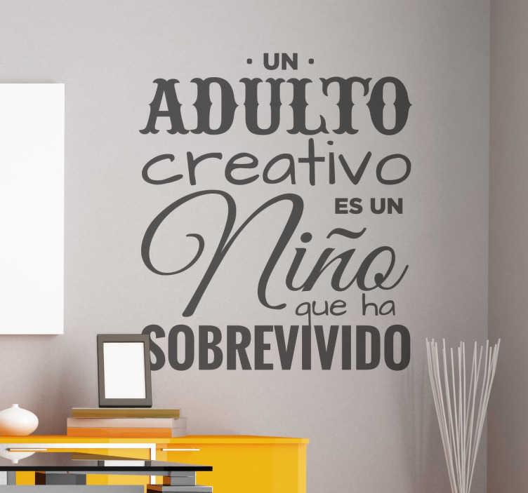 TenVinilo. Vinilo decorativo texto sobre creatividad. Murales y vinilos de textos con diseño exclusivo ideales para oficinas en las que se potencia la creatividad.