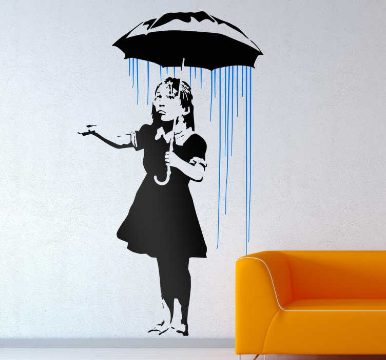 TenStickers. Banksy Girl in the Rain Sticker. Street art wall sticker based on work by the urban artist Banksy, showing one of his most recognised works. A piece of graffiti artwork of a little girl standing under an umbrella in the rain. Place anywhere in your home to add a contemporary touch.