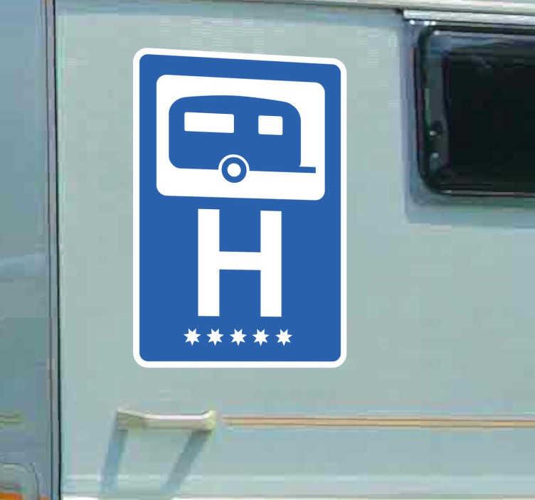 TenStickers. Autocolante decorativo caravana hotel 5 estrelas. Adesivos para caravanas com uma imagem baseada na sinalética de hóteis e reboques.