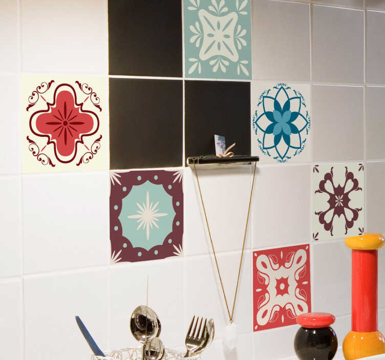 Tenstickers. Tappning mönster kakel klistermärken. Kök dekal med en rekreation av retro-plattor, idealisk för att belägga dina vanliga befintliga plattor för att ge dem ett färgstarkt nytt utseende.