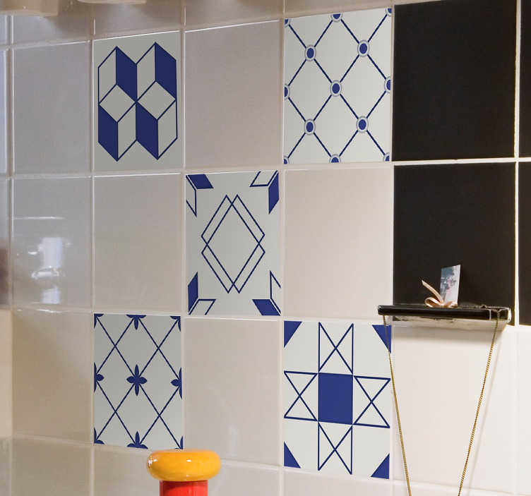 TenStickers. Geometric Shapes Tile Stickers. Geometric tile stickers for decorating the bathroom or kitchen. Designed to coat your original bathroom or kitchen tiles in your home. Add that final touch to your home decor and make each room stand out with these simple but effective shape decals.