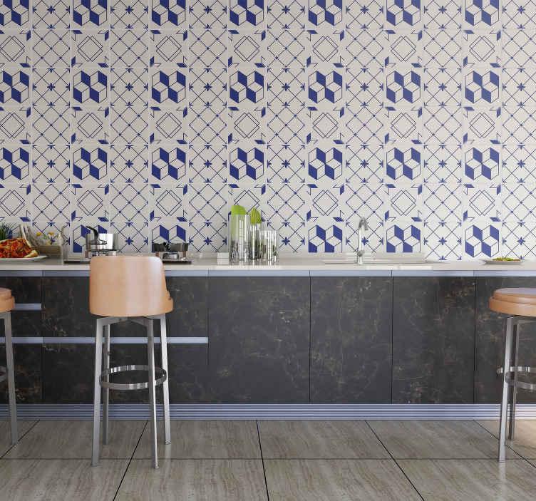 TenStickers. Naklejki na płytki wzory geometryczne. Dekoracyjne naklejki do przyklejenia na kafelki w kuchni lub w łazience. Ciemnogranatowe wzory geometryczne, które odmienią wnętrze mieszkania.