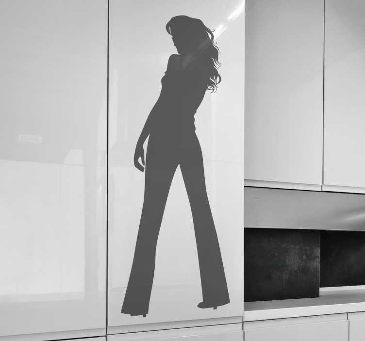 TenStickers. Silhuet af en kvinde fra bagsiden stuen væg indretning. Find det design der passer til dine behov ved at integrere denne silhuetklister fra en kvinde fra bagsiden, især til din stue. Størrelse og farve justerbar. Hurtig levering.