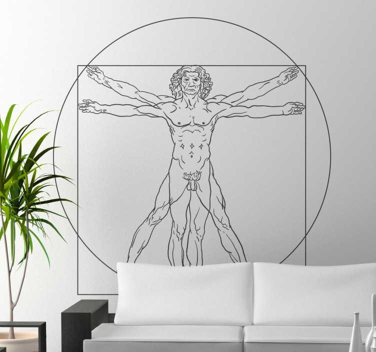 """TenStickers. Naklejka na ścianę Człowiek witruwiański. Dekoracyjna naklejka na ścianę przedstawiająca szkic autorstwa Leonardo Da Vinci pt. """"Człowiek witruwiański""""."""