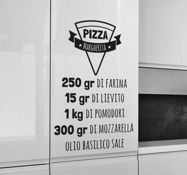 TenStickers. Wall sticker ricetta Pizza Margherita. Wall sticker decorativo, ideale per tutti coloro che amano e non possono fare a meno della pizza.