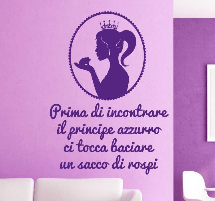 TenStickers. Wall Sticker Principessa e i Rospi. Wall sticker decorativo molto simpatico che raffigura una principessa mentre sta dando un bacio ad un rospo.