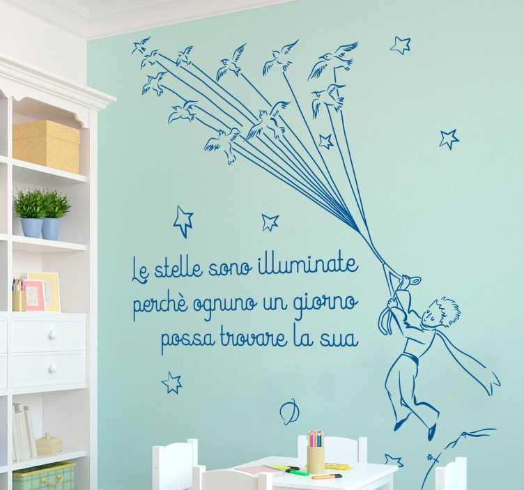 TenStickers. Adesivo Piccolo Principe. Questo bellissimo adesivo con frase del Piccolo Principe è perfetto per portare una decorazione stupenda sulle pareti di casa tua!