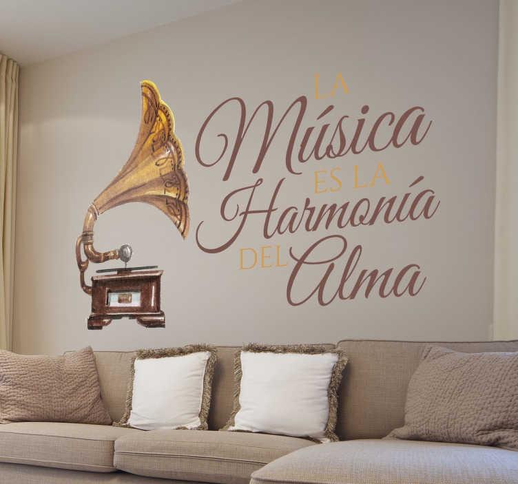 TenVinilo. Vinilo decorativo música harmonía alma. Vinilos elegantes para la decoración de hogares donde se ama la música y que quieran renovar la estética de sus muros.