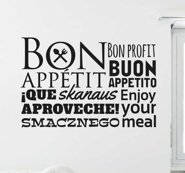 TenStickers. Sticker Buon Appetito. Wall sticker decorativo che raffigura la scritta Buon Appetito in varie lingue del mondo. Disponibile in dimensioni personalizzabili.