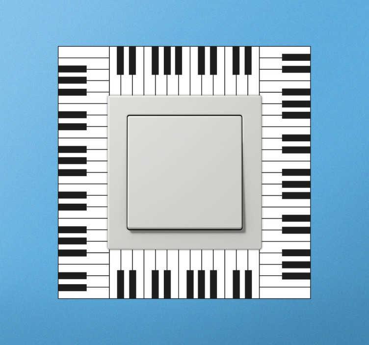 TenStickers. Wandtattoo Klaviertasten Lichtschalter. Der perfekte Lichtschalter für alle Musikliebhaber, die ihr Zuhause mit außergewöhnlichen und eleganten Accessoires schmücken wollen.