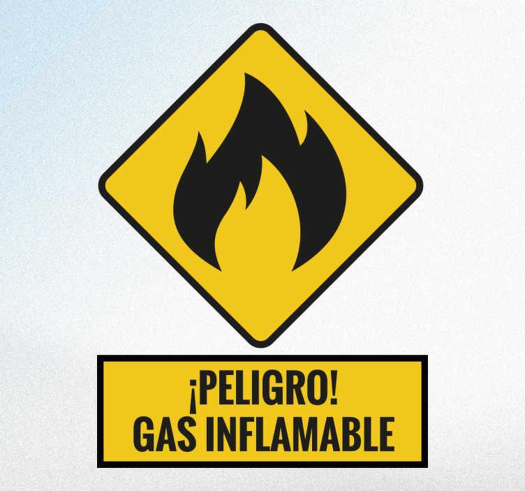 TenVinilo. Adhesivo gas inflamable. Vinilos de advertencia con los que podrás indicar claramente si hay una zona peligrosa.