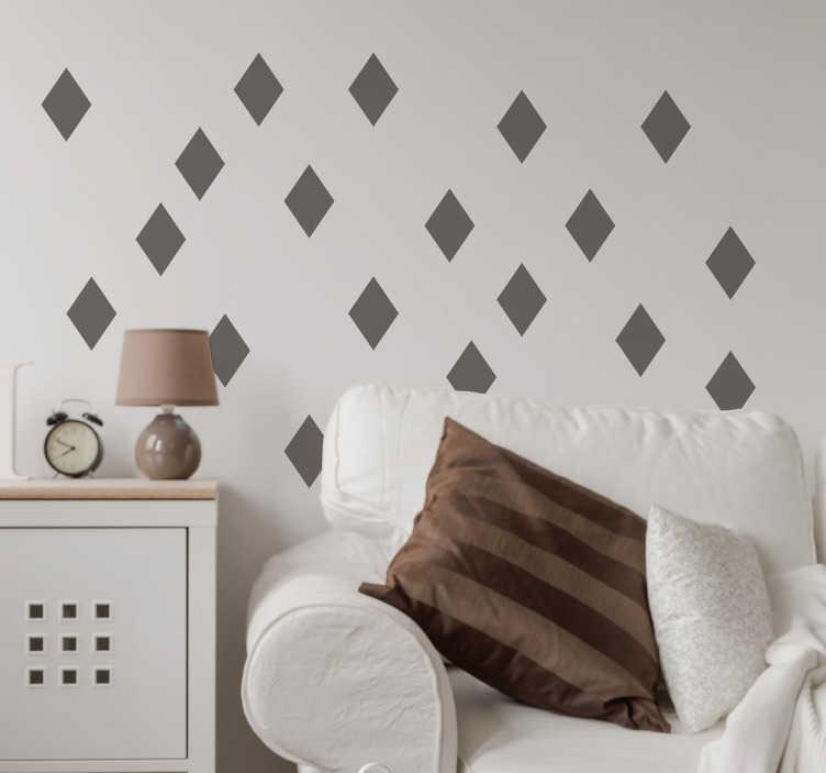 TenStickers. 다이아몬드 모양의 벽 스티커. 귀하의 가정 장식에 그 마지막 손길을 추가하는 데 완벽한 다이아몬드 모양의 벽 스티커 모음. 이 미니멀 한 벽걸이 데칼은 집의 빈 벽에서 사라진 것입니다. 원하는 크기와 색상을 선택하고 원하는 곳에 둘 수 있습니다.