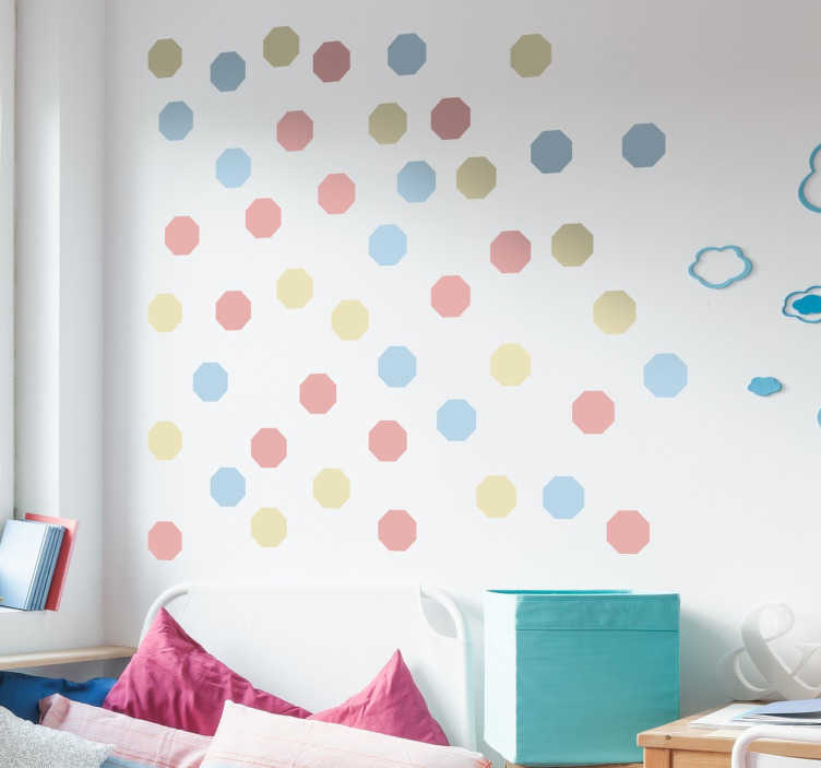 TenStickers. Pastel Octagonal Shapes Sticker. Collection of 48 octagonal shapes in three shades of pastel colours, ideal for redecorating any room to give it a fresh look.