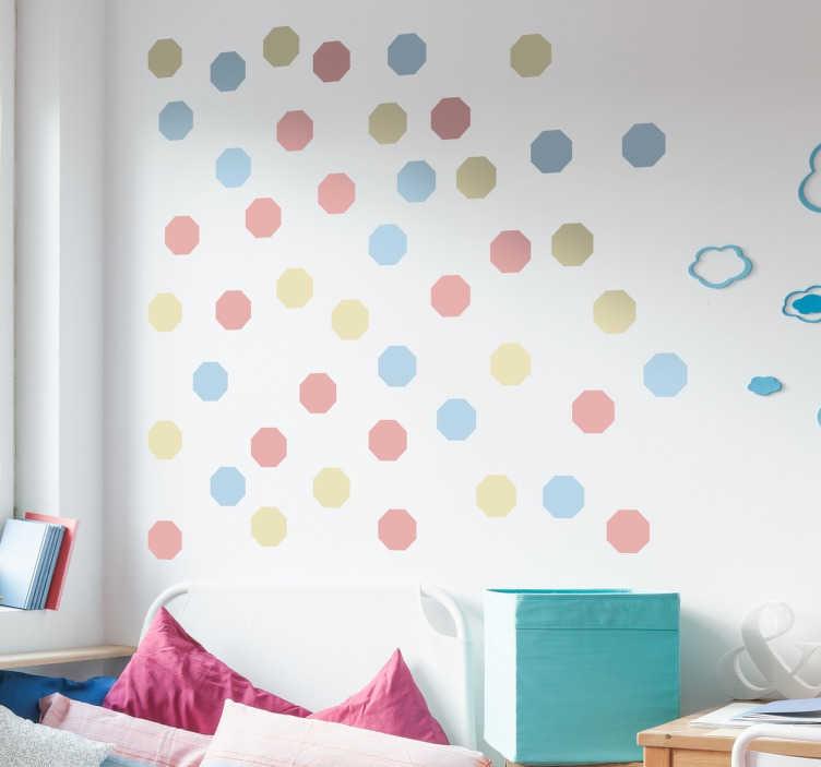 TenVinilo. Lámina pegatinas octogonales tonos pastel. Colección de 48 adhesivos de figuras ocotoganales en tres tonos de color pastel ideales para redecorar cualquier estancia.