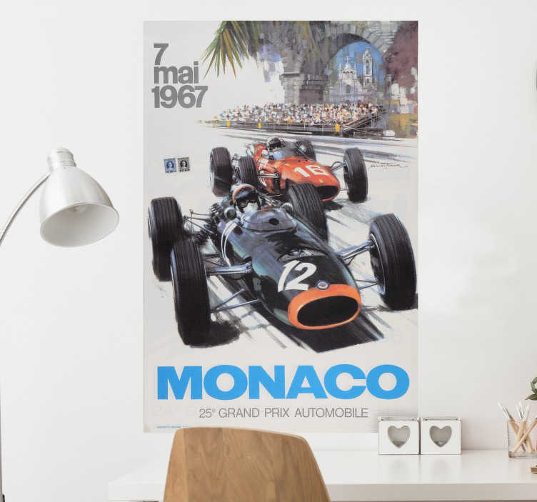 TenVinilo. Póster adhesivo gran premio Mónaco. Vinilos de carteles basados en el mundo de la fórmula uno con la recreación en alta calidad de un póster retro.