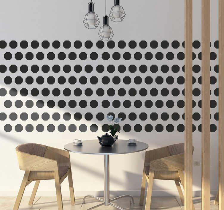 TenVinilo. Sticker lámina formas octogonales. Colección de 48 adhesivos de octógonos ideales para redecorar cualquier estancia de tu casa.