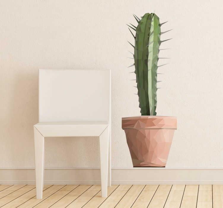 TenStickers. 다각형 선인장 스티커. 부엌, 침실, 거실 등을 꾸미기위한 화려한 기하학적 식물 벽 스티커! 집안 어디에서나이 다용도 녹색 데칼을 사용하여 자연스럽고 신선한 분위기를 조성하십시오.