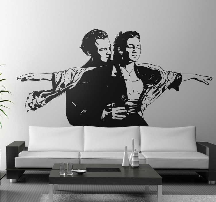 TenStickers. Sticker scena film Titanic. Wall sticker decorativo che raffigura la silhouette di una delle scene più famose e romentiche della storia del cinema.
