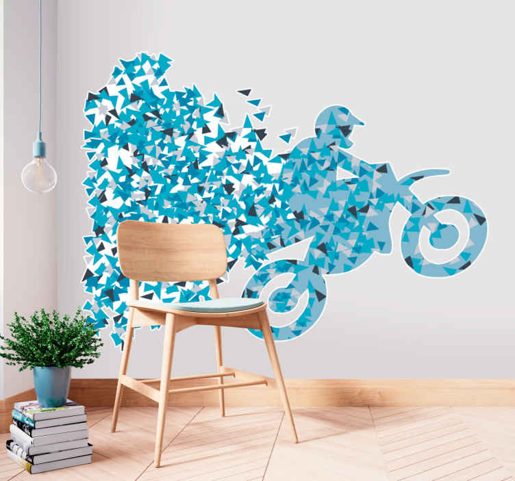 TenStickers. Geometric Motoross Racer Sticker. Detailed motocross sticker, ideal for decorating teenagers rooms.