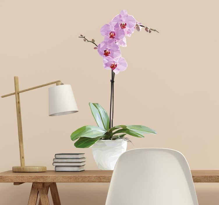 TenStickers. Poligonalna lončena orhideja nalepka. Okrasite stene vašega doma z originalno nalepko, navdihnjeno z rastlinami in cvetjem. Ta roza orhideja cvet stene nalepke je kot nalašč za prinašanje neke narave in sreče v vaš dom dekor ali pisarno.