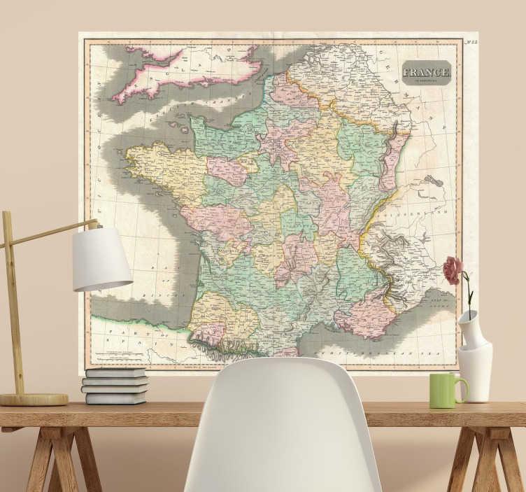 TenStickers. Sticker mural France années 1800. Photo mural d'une ancienne carte de France pour tous les passionnés de géographie française qui veulent faire un voyage dans le passé.