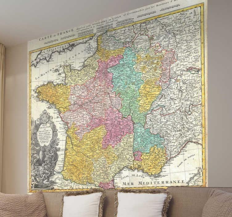 TenStickers. Sticker carte de la France 18eme siècle. Un sticker mural original représentant l'ancienne carte de la France au 18ème siècle. Pour une décoration vintage unique !