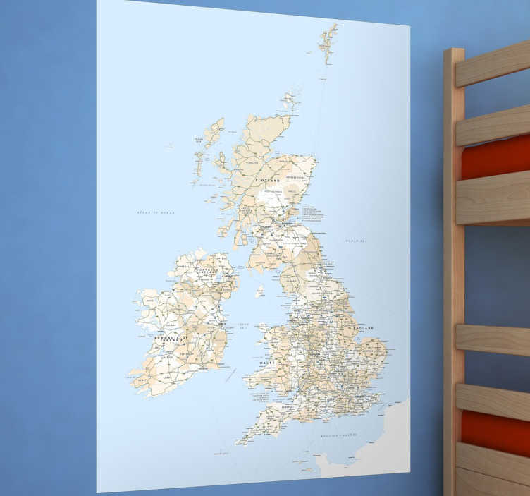 TenStickers. Great Britain Map Sticker. A detailed map sticker of the British Isles, perfect for people who love geography.