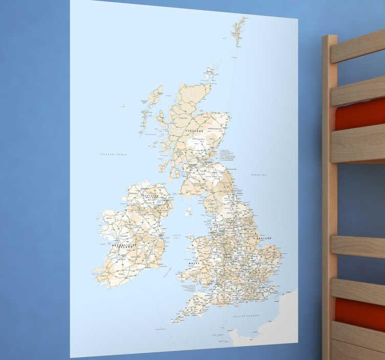 TenVinilo. Vinilo decorativo mapa Gran Bretaña. Murales y vinilos de geografía con un detallado plano de las islas británicas con las que decorar cualquier estancia.