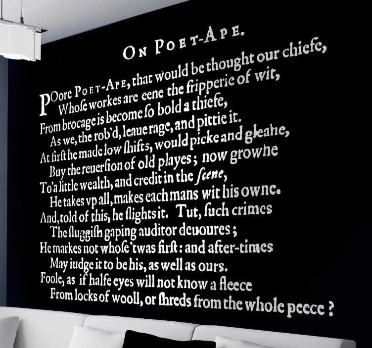 TenStickers. On Poet-Ape Wandtattoo. Das Wandtattoo als Gedicht On-Poet-Ape des Poeten Ben Jonson.