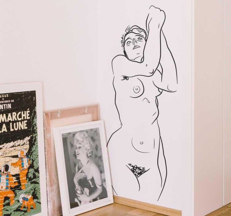 TenStickers. Vinil decorativo retrato nu Schiele. Converte as paredes da tua casa num museu com este vinil autocolante original baseado numa obra do famoso pintor austríaco.