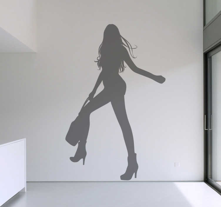 TenStickers. Woman Posing Silhouette Sticker. A decorative decal of a young woman holding her handbag and posing like a model!