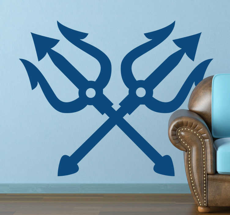 TenStickers. Neptune Crossed Tridents Sticker. Sailor-inspired sticker based on a representation of a Greek-Roman mythology symbol of the two tridents of Poseidon.