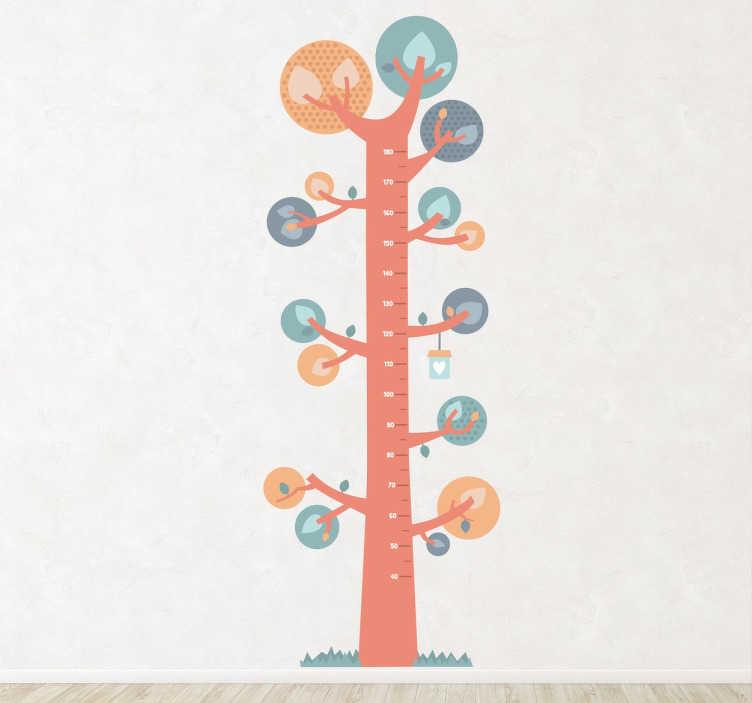 TenStickers. Muursticker Lengtemaat Kinderen. Een groeimeter sticker met het ontwerp van een boom. Hiermee houdt u de groei van uw kind bij en decoreert u de kinderkamer tegelijk. Snelle klantenservice.
