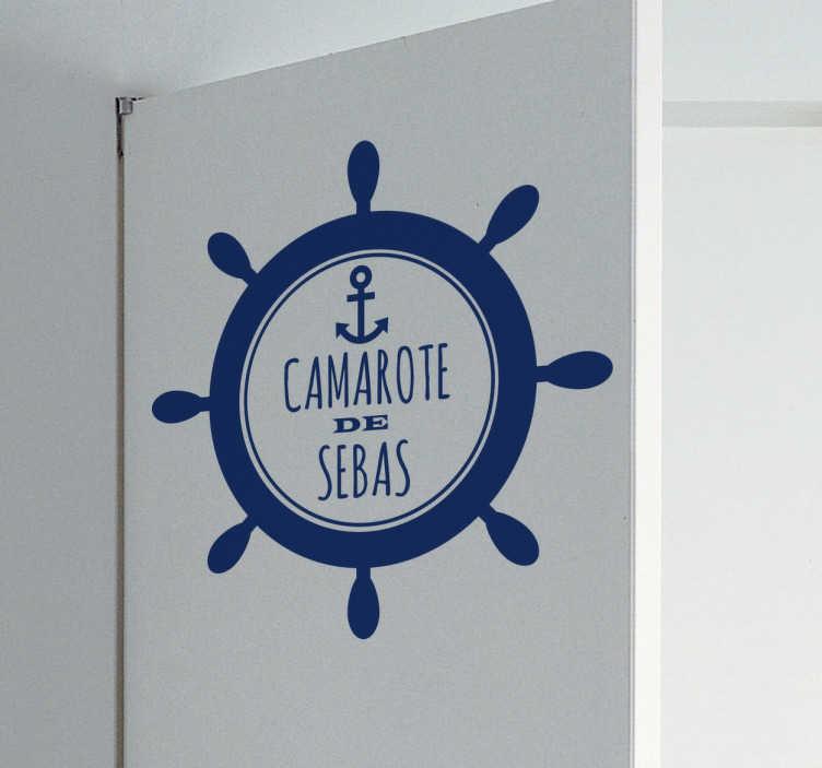 TenVinilo. Vinilo personalizable puerta camarote. Vinilos para personalización de puertas con un diseño de inspiración marinera con nombre personalizable.