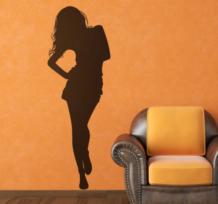TenStickers. Sticker illustration silhouette de femme. Stickers décoratif illustrant la silhouette d'une femme.Jolie idée déco pour les murs de votre intérieur de façon simple et élégante.