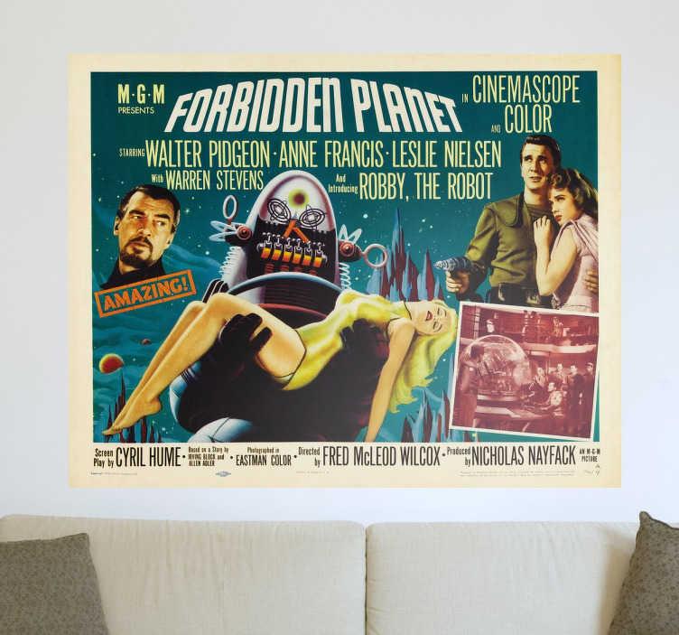 """TenVinilo. Vinilo póster película serie B marcianos. Vinilos de carteles de películas en este caso con una representación del film """"Forbidden planet"""" de los años 50."""