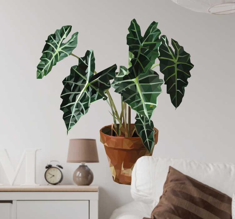 TENSTICKERS. 幾何学的な植物のプロットステッカー. 幾何学的な植物のステッカー - 家のインテリアに追加するためのモダンなデザイン。緑豊かな植物の美しい幾何学的なデザイン。