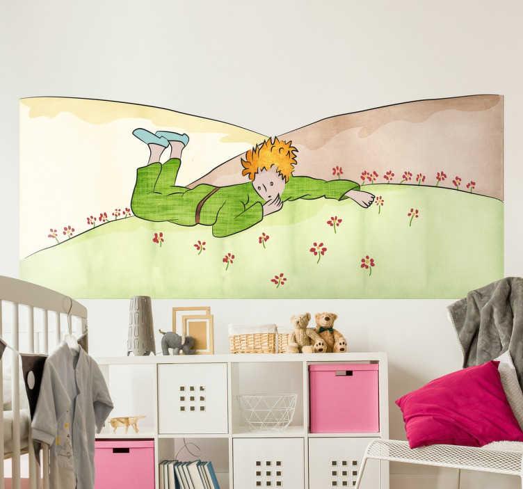 """TenStickers. Der kleine Prinz Wandtattoo. Wandtattoo für das Kinderzimmer mit der Wiedergabe einer ursprünglichen Illustration aus dem Buch """"Der kleine Prinz"""" von Antoine Saint-Exupery."""