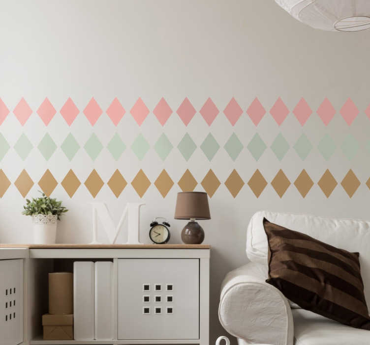 TenStickers. Pastel Diamond Border Sticker. Collection of diamonds in three neutral colour tones, ideal to renew your home décor in your living room or wherever you choose.