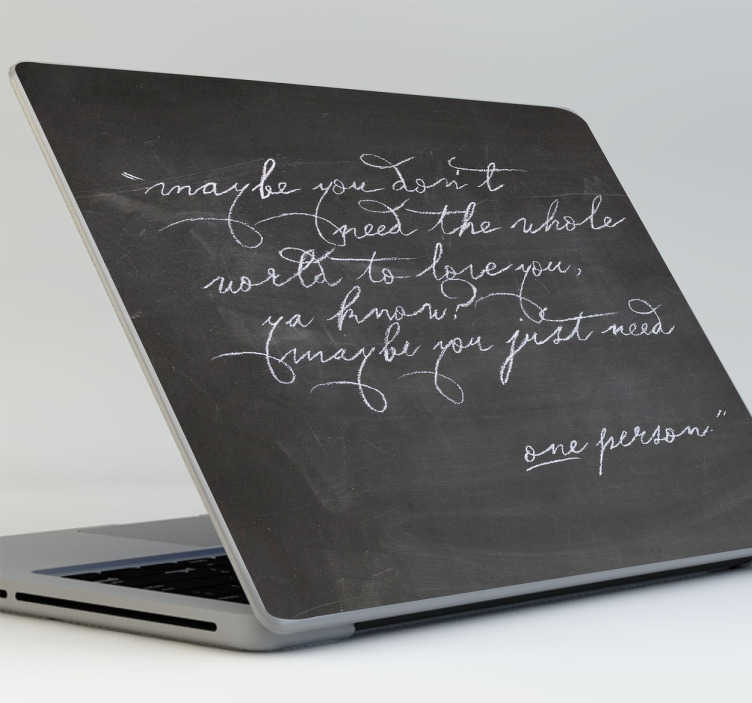 TenStickers. kridttavle laptop sticker. Originalt laptop klistermærke, lavet med særligt matriale , som gør det muligt at notere dine noter med kridt, direkte på din computer.