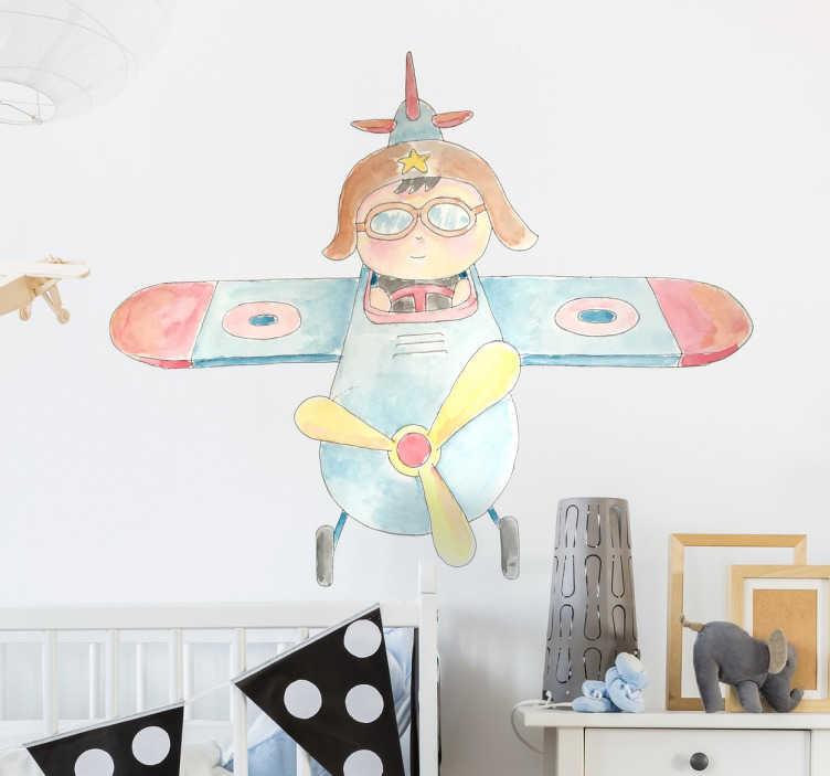 TenStickers. Naklejka na ścianę chłopiec w samolocie. Dekoracyjna naklejka na ścianę dla dzieci przedstawiająca chłopca w samolocie. Naklejka, która wygląda jak rysunek.