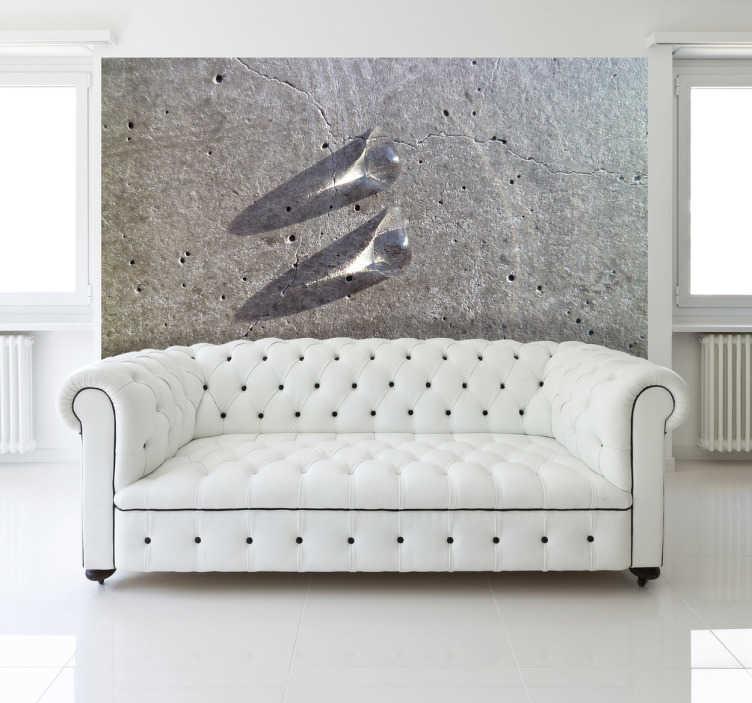 TenStickers. Naklejka na ścianę krople wody. Naklejka na ścianę przedstawiająca fotografię z dwoma kroplami wody na tle ściany wykonanej z szarego tworzywa.