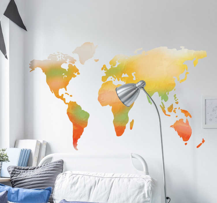 Tenstickers. Vattenfärg världskarta klistermärke. Världskarta dekaler med en vacker akvarellstruktur. Varmorna och de ljusa färgerna skapar en unik världskarta design perfekt för alla rum i ditt hem.