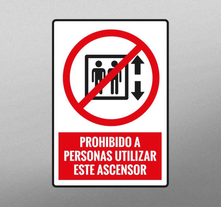 TenVinilo. Adhesivo señal utilización ascensor. Vinilos de señalización para indicar que hay elevadores que no están abiertos al público en general.