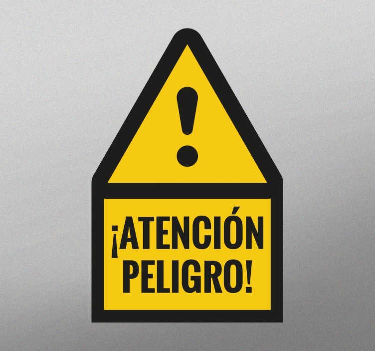TenVinilo. Adhesivo senalización tener precaución. Vinilos de señalización para empresas con los que indicar de forma clara qué lugares conllevan cierto peligro.