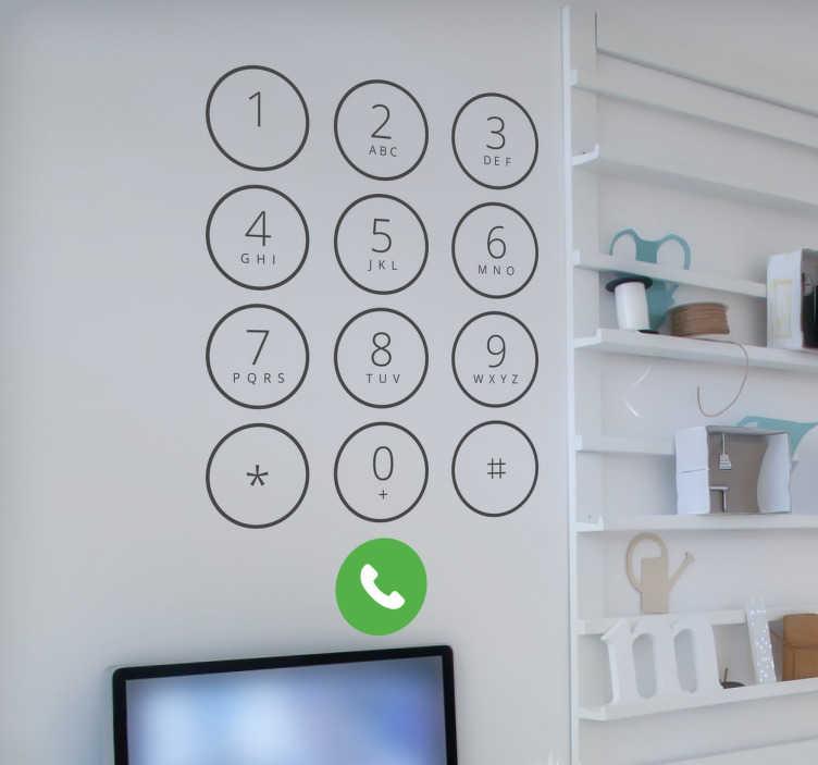 TenStickers. Naklejka na ścianę klawiatura iPhone. Dekoracyjna naklejka na ścianę do domu lub biura przedstawiająca klawiaturę telefonu iPhone. Naklejka dla ludzi biznesu.
