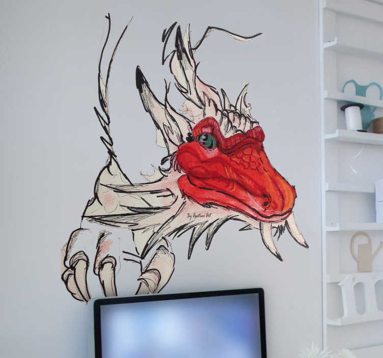 TenStickers. Graphic Dragon Sticker. Original vinyl sticker with a full colour drawing of an Asian-inspired dragon, ideal for any room.