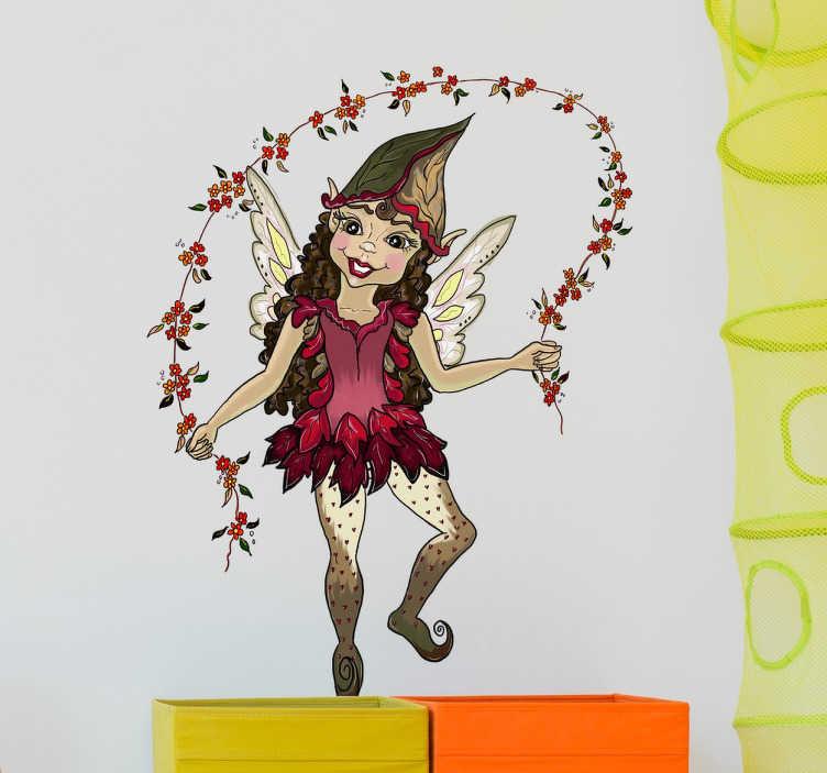 TenVinilo. Vinilo decorativo duende comba. Vinilos de autor con una bonita ilustración de una duende saltando una comba fabricada con flores.