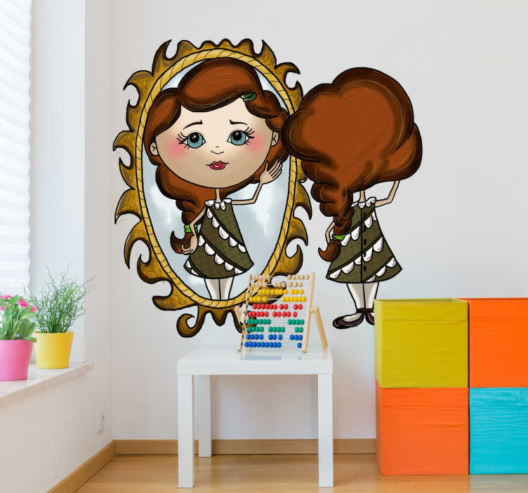 TenStickers. Girl's Reflection Sticker. Children's sticker with a beautiful illustration of a girl primping in front of a mirror.